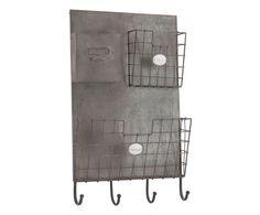 Pensile portalettere con 4 ganci in ferro grigio, 35x57x10 cm