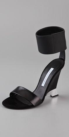 Diane von Furstenberg Elan Cutout Wedge Sandals - StyleSays