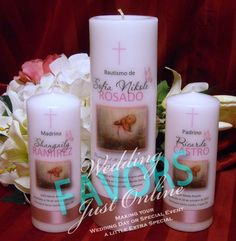 Baptism Candle with Godparent Candles