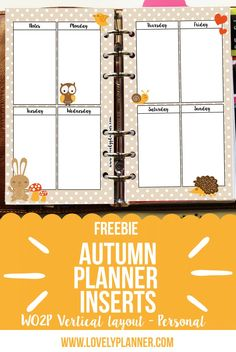 Free autumn printable planner inserts with cute forest animals. Fits personal planners. More free planner printables on lovelyplanner.com