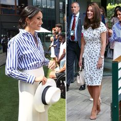 Ladies' day out for the Duchesses today! 👯‍♀️The Duchess of Cambridge, patron of the All England Club, and the Duchess of Sussex are making a joint appearance at Wimbledon for the ladies final 🎾 Kate is wearing a black/white polka dot dress by @jennypackham (a favourite theme for her trips to Wimbledon - she wore a polka dot dress last year too!) while Meghan opted for a blue/white striped shirt and white palazzo pant combination