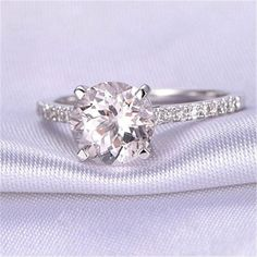 Morganita anillo de compromiso anillo de oro por OliveAvenueJewelry