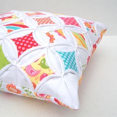 Decorative Pillow Cover Cathedral Window Red Pink Green Aqua Yellow Hello Sunshine 18 Inch on Etsy, $49.50