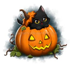 DeviantArt: More Like Nyan Cat by leamatte Fete Halloween, Halloween Clipart, Halloween Pictures, Halloween Cat, Vintage Halloween, Happy Halloween, Halloween Decorations, Nyan Cat, Kawaii