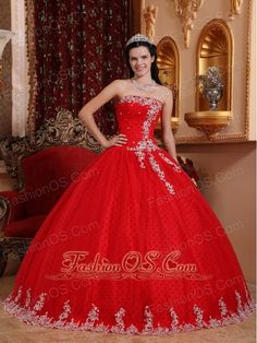 Inexpensive Red Quinceanera Dress Strapless Tulle Lace Appliques Ball Gown http://www.fashionos.com Are you looking for a unique desgined dress which can gain more attention from the prom?There is no doubt that this fabulous strapless quinceanera dress is your best choice. Red dress is the best representative of sex appeal and vitality. It features a strapless bodice that's embellished with pretty appliques and beadings.