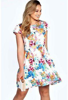 Plus Tammy Floral Printed Skater Dress