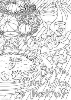 Free Adult Coloring Book Page For Thanksgiving