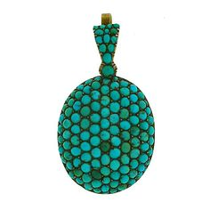 Victorian 14kt & Pave Set Persian Turquoise Pendant