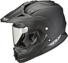 Black dual sport helmet
