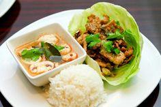 Lunch Combo #3: Jasmine Rice / Pork Kra Tiem / Chicken Tom Yum Soup