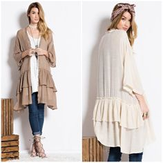 Sheer Cardigan W/ Dolman Sleeve & Ruffle Hem Sheer Cardigan W/ Dolman Sleeve & Ruffle Hem --- 100% rayon --- Order your true size -- Please feel free to ask any questions --- Thank you. Boutique Sweaters Cardigans