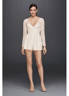 a829dc9e708 Short Lace Long-Sleeve Romper CR341667 Wedding Rompers