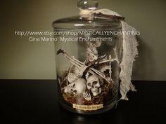 Halloween Skeleton Jar Apothecary jar of by MYSTICALLYENCHANTING, $44.50