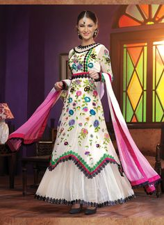 Eligible Off White and Pink Chiffon and Santoon Designer Anarkali Suit  Email - support@ethnicoutfits.com Call - +91-8140714515 What's App/ Viber - +91-8141377746