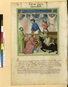 Tacuinum Sanitatis - BNF Ms. Latin 9333 Date: Rhineland, mid- 15th century.  fol 72v Schweinefleisch