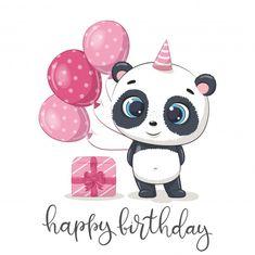 Panda Birthday, Disney Birthday, Girl Birthday, Happy Birthday Wallpaper, Happy Birthday Greeting Card, Panda Wallpapers, Cute Wallpapers, Panda Bebe, Clipart Png
