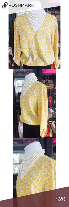 Yellow Floral Print Blouse Listing in progress Tops Blouses