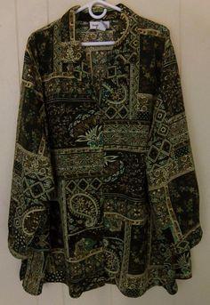 Brylane Woman Plus 4X Long Sleeve Green Brown Button Polyester Top Long #BrylaneWoman #ButtonDownShirt