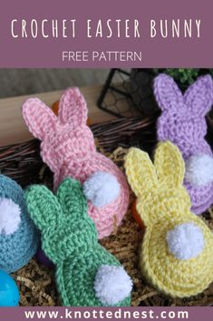 Easter bunny garland free pattern the knotted nest quick and easy free crochet pattern for easter bunny garland can be used as decoration or an easter basket gift! chunky bobble bows design by lulu loves free pattern available via the yarn box Holiday Crochet, Crochet Gifts, Easy Crochet, Free Crochet, Quick Crochet Patterns, Crochet Amigurumi, Crochet Toys, Easter Bunny Crochet Pattern, Crochet Garland