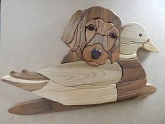 Pup & Decoy, Wood Intarsia Wall hanging Handcrafted Scroll Saw Art - Woodworking Scroll Saw Patterns Free, Cross Patterns, Wall Patterns, Free Pattern, Intarsia Woodworking, Woodworking Crafts, Woodworking Patterns, Wood Wall Design, Wall Wood