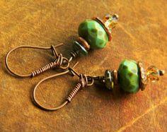 Rustic Copper Earrings Green Czech Glass Boho Southwestern Jewelry