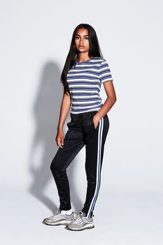 Striped trackpants by Cost:Bart. Striped Pants, Blue Stripes, Boys, Girls, Black White, Sweatpants, Unisex, Sweater, Night