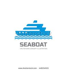 Sea boat - vector logo template concept illustration. Marine nautical ship sign. Design element.