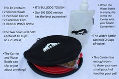 Northern Outback SuperSized Travel Pet Bowl Carrier Kit has TWO 5 CUP Silicone bowls, a BONUS 2 CUP Water Bottle and TWO Carabiner Clips! Excellent for all sizes of Dogs or Pets or hey, if you are a Camper or Hiker, this is for you! Liu Jo, Collapsible Dog Bowl, Pet Travel, Pet Bowls, Big Dogs, Your Pet, Water Bottle, Fox Terriers, Kit
