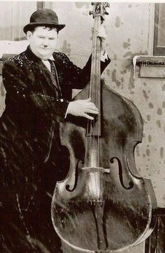 The right man for the gig Famous Musicians, Jazz Musicians, Laurel And Hardy, Double Bass, Lone Ranger, Great Bands, Music Bands, Black And White Photography, Rock N Roll