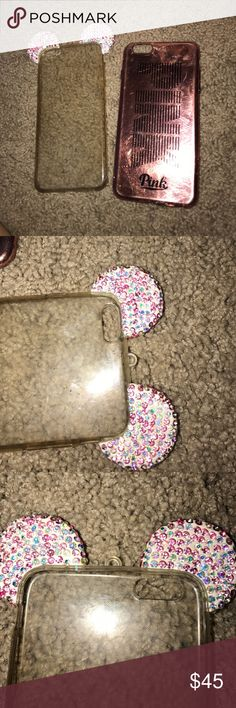 2 iPhone 6/6s plus cases One is a Disneyland rhinestone case with no stones missing and nothing wrong , he second is a Victoria secret pink holographic phone case (this one has few scratches and top is loss of some color) Victoria's Secret Accessories Phone Cases