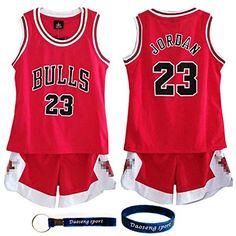 e70c242f Daoseng Niño NBA Michael Jordan # 23 Chicago Bulls Retro Pantalones Cortos  de Baloncesto Camisetas de