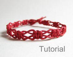 Rojo macrame pulsera patrón instrucciones pdf por Knotonlyknots