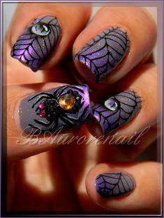 The water droplets are wonderful and beautiful! Nail Art Designs, Nail Polish Designs, Dark Color Nails, Purple Nails, Halloween Nail Designs, Halloween Nail Art, Nails Factory, Sugar Skull Nails, Nailart