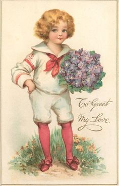FRONT OF POSTCARD Set Title  LOVE'S REMEMBRANCE, VALENTINE Sold as 4 images probably sold in packets of 6 cards Chomographed in Berlin   First Use:January 25,/1910 Artist Frances Brundage Unsigned THIS CARD Postmarked Vermont 1911
