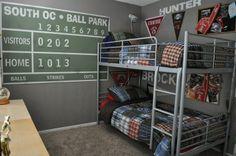 baseball bedroom | My boys baseball bedroom Complete with score board | kid ideas