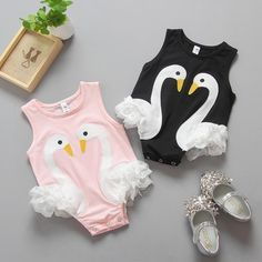 Unique and stylish Swan romper with beautiful applique swans and lace detailing. So sweet for your little fashionista! Summer Girls, Kids Girls, Baby Kids, Baby Girl Fashion, Kids Fashion, Girl Sleeves, Summer Romper, Girls Wardrobe, Baby Girl Romper