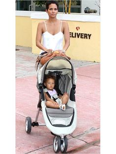 Halle Berry and Nahla with the Baby Jogger City Mini  Now 31% off at http://www.albeebaby.com/baby-jogger-city-mini-4-wheel-single-stroller-sand-stone.html