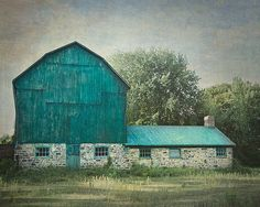Barn Photography, Country Picture, Farm Artwork, Farmhouse Decor, Rustic Wall Art, Blue and Green Photograph, Ontario Landscape Photo