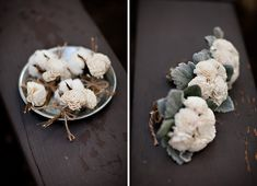 """bouquets and boutonnieres made with sola Flowers. These """"flowers"""" would trick most people from a distance–they're actually tapioca wood! The bouquets are from Brandon Kidd's wedding, photographed by Jasmine Star. Floral Bouquets, Wedding Bouquets, Wedding Flowers, Wedding Lace, Wedding Bells, Wedding Trends, Wedding Styles, Wedding Ideas, Wedding Details"""