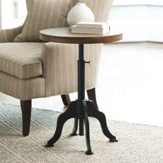 Allen Side Table | Ballard Designs  !/14  $180. wood top metal base adjustable