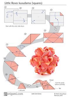 Diagram for a modular origami ball, Little Roses Kusudama, designed by Maria Sinayskaya. Folded with 30 rectangular sheets of paper, assembled without glue. Origami Ball, Instruções Origami, Origami And Kirigami, Origami Paper Art, Origami Fish, Origami Design, Paper Crafts, Oragami, Dollar Origami