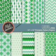 Greens - digital papers for scrapbooking, paper crafts, card making, decoupage and more.