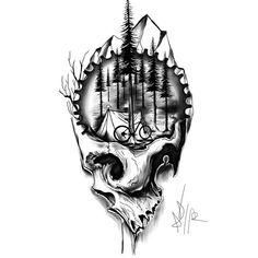 Cycling Tattoo, Bicycle Tattoo, Bike Tattoos, Tatuaje Rick And Morty, Calavera Tattoo, Totenkopf Tattoos, Mountain Tattoo, Bike Art, Skull Design