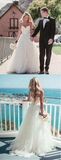 Pretty Wedding Dresses, Spaghetti straps A-line tulle ivory wedding dresses, summer wedding dresses, beach wedding dresses, 2018 bridal gown by SIMIBRIDALDRESS - Wedding Time Pretty Wedding Dresses, Wedding Dresses With Straps, Wedding Dresses 2018, Sweetheart Wedding Dress, Cheap Wedding Dress, Bridal Dresses, Spagetti Strap Wedding Dress, Bridesmaid Dresses, Quinceanera Dresses