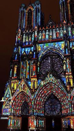 Cathedral of Notre Dame de Reims , Rheims, France. Shown: The Light Show celebrating its Anniversary. Notre Dame de Rheims is a masterpiece of Gothic architecture where Kings of France were crowned Places Around The World, Oh The Places You'll Go, Places To Travel, Places To Visit, Around The Worlds, Beautiful Architecture, Beautiful Buildings, Colourful Buildings, Gothic Architecture