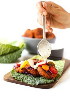 Gluten-free baked falafel with vegan yogurt sauce   simpleveganblog.com #vegan #glutenfree #healthy