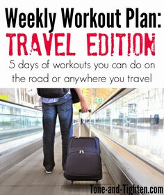 5 days of workouts that you can do in a hotel room or on vacation- no equipment or much space needed! Tone-and-Tighten.com