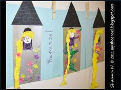 Learn and Grow Designs Website: Rapunzel Children's Art Craft and Rapunzel Book List Fairy Tale Projects, Fairy Tale Crafts, Fairy Tale Theme, Classroom Crafts, Preschool Crafts, Preschool Themes, Art For Kids, Crafts For Kids, Arts And Crafts