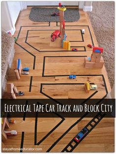 Electrical Tape Car Track and Block City - super cute DIY for your kids who love cars.