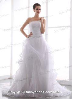 One Shoulder Organza White Ruffles Outdoor Vintage Bridal Gown - Fannybrides.com